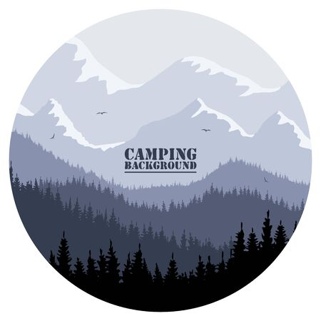 Round for camping, hunting season. Silhouette of spruce forest and mountains on the horizon. Birds are flying. Calmness, pacification. In lilac colors.