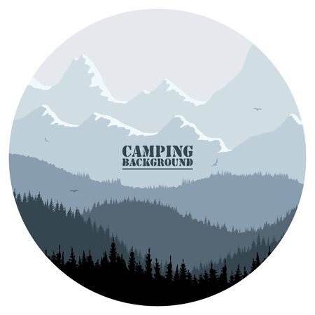 Round for camping, hunting season. Silhouette of spruce forest and mountains on the horizon. Birds are flying. Calmness, pacification. In blue tones. Çizim