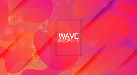 A fashionable form of liquid. Orange red purple gradient. Colored smooth waves. for your design. Trends. Making screensavers, banners, posters. Cut lines with shadows. Ilustrace