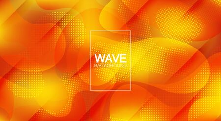 A fashionable form of liquid. Yellow and orange gradient. Colored smooth waves. for your design. Trends. Making screensavers, banners, posters. Cut lines with shadows.