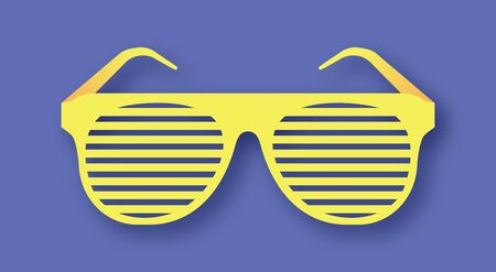 Retro glasses with lattice, paper style. Cut in layers. Yellow frame on lilac background with shadow.