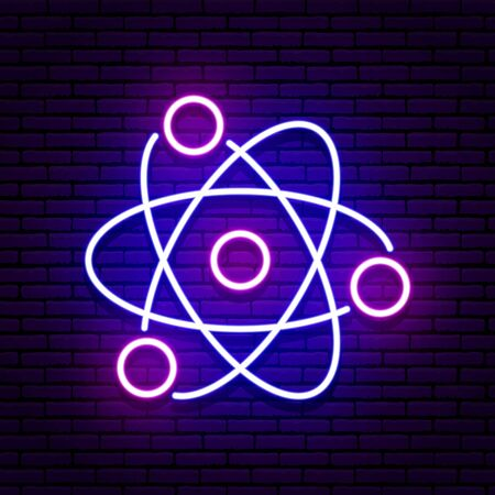 Neon sign in the form of an atom. Blue and violet colors. Against the background of a brick wall with a shadow. Isolated. For your design in medicine, science, education, in development.