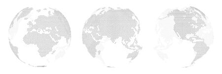 Ein Satz von drei Optionen für verschiedene Orte der Welt, der aus Punkten besteht. Isoliert. Planetenerde, abstrakte runde Karte.