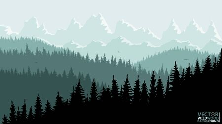 Tranquil backdrop, pine forests, mountains in the background. greenish blue tones, flying birds. Reflection and glare from the sun on the mountain tops.