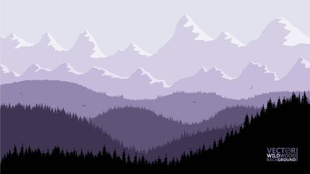 Tranquil backdrop, pine forests, mountains in the background. purple lilac tones, flying birds. Reflection and glare from the sun on the mountain tops.