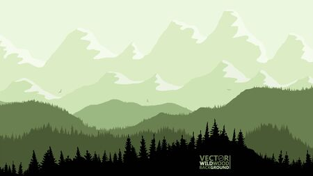 Tranquil backdrop, pine forests, mountains in the background. light green lemon tones, flying birds. Reflection and glare from the sun on the mountain tops. Ilustración de vector