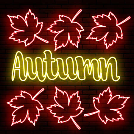 Autumn background, yellow neon inscription. Red maple leaves. To attract customers to promotions, discounts, sales. Against the background of a brick wall. All elements are isolated.