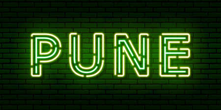 Glowing neon sign with the inscription of the Indian city of Pune. In green and yellow colors. Against a brick wall. All elements are isolated.