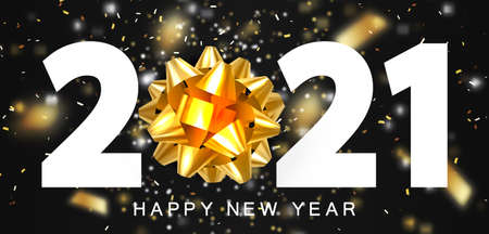 Happy new year 2021 and merry Christmas. White numbers and a gold glitter ribbon bow instead of zero. Shiny flying confetti, blur and motion effect. Ilustracja