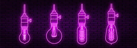 Set of four neon signs in the form of an Edison lamp, Different shapes. In the purple color. Against a brick wall.