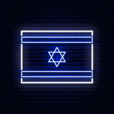 Neon sign in the form of the flag of Israel. Against the background of a brick wall with a shadow. for the design of tourist or Patriotic themes. Blue and white colors.