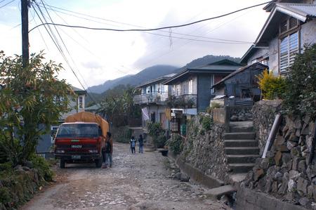 philippino: Street of Sagada. Philippines Luzon Island The Cordillera Mountains Mountain Province Banga an Village Houses