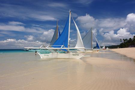 boracay: Boracay Island Philippines. Sail boats on beach Boracay