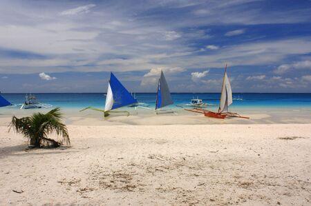 boracay: Philippines. Boracay Island Philippines. Sail boats on beach Boracay