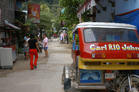 nido: Tuc tuc. Streets of the village El Nido. Philippines.  Editorial