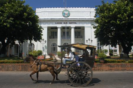 Ilocos sur Capitol. Kalesa ride, horse carriage. Vigan. Ilocos. Philippines.