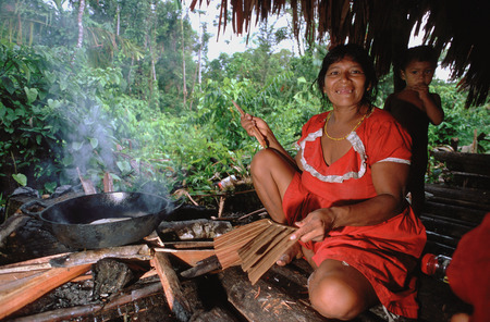 A woman cooking in the Orinoco delta. The Warao are an indigenous people inhabiting northeastern Venezuela and western Guyana.  Editorial