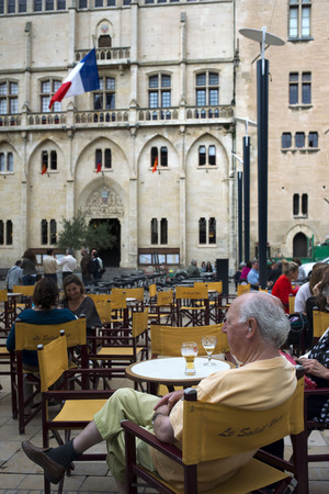 pensionary: Restaurant in front of Town hall square. Narbonne. Pedestrian shopping street in old city central Narbonne. South of France.