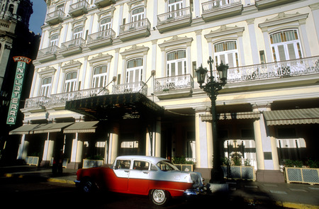 habana: Old car 1950s Chevrolet in front of Hotel Inglaterra, Havana, Cuba. Paseo Marti, Havana (La Habana), Cuba