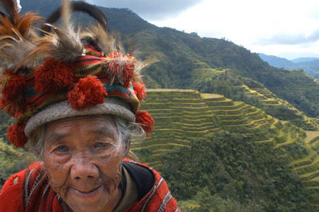 census: Women of the Ifugao tribe. Rice terraces. View point. Banaue. Northern Luzon. Philippines. Banaue (or alternatively spelled as Banawe) is a fourth class municipality in the province of Ifugao, Philippines. According to the 2010 census, it has a population