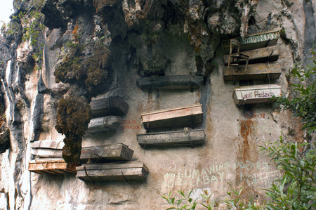 coffins: Hanging coffins. Echo Valley. Sagada. Northern Luzon. Philippines. Hanging coffins are coffins which have been placed on cliffs. They can be found in various locations, including China, Indonesia, and the Philippines. In China, they are known as Xuanguan  Editorial