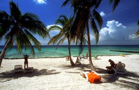 atraction: White sand in Maria la Gorda beach. Seaside resort of Maria La Gorda in the Pinar del Rio province of Cuba, West Indies.