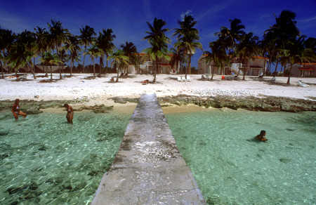 holidaymaker: White sand in Maria la Gorda beach. Seaside resort of Maria La Gorda in the Pinar del Rio province of Cuba, West Indies.