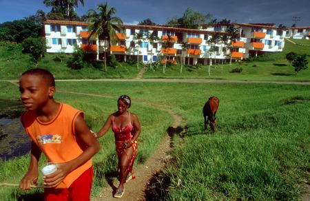 cooperativismo: Caballo y la gente que camina cerca de las casas en Las Terrazas, una cooperativa del pueblo en la reserva natural de la Sierra del Rosario, Cuba.