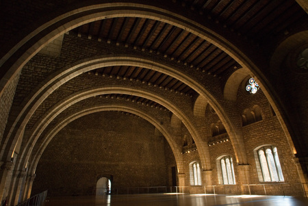 14th century: Spain. Barcelona. The Tinell Hall (Saló del Tinell). Built by King Peter IV in 1359-1362. Complex of Grand Royal Palace. Residence of the Counts. In the Middle Ages, Barcelona became the Ciutat Comtal (Count's City) and its political importance increas