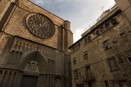 h: Spain, Catalonia, Barcelona, Placa del Pi next to Santa Maria del Pi church. In the Middle Ages, Barcelona became the Ciutat Comtal (Count's City) and its political importance increased. It became the seat of the main political institutions in Old Catal