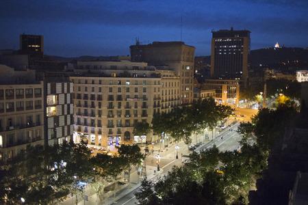 paseo: Barcelona Spain Passeig de Gracia from Casa Mila aka La Pedrera Architect Antoni Gaudi. Passeig de Gracia street, Barcelona, Catalunya (Catalonia) (Cataluna), Spain, Europe.