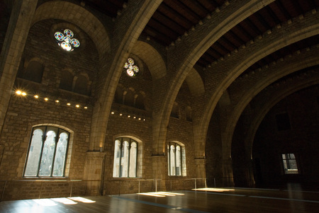counts: Spain. Barcelona. The Tinell Hall (Saló del Tinell). Built by King Peter IV in 1359-1362. Complex of Grand Royal Palace. Residence of the Counts. In the Middle Ages, Barcelona became the Ciutat Comtal (Count's City) and its political importance increas