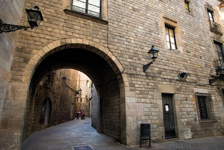Sant Felip Neri Square, Civil War signs, Gothic Quarter, Barcelona, Catalonia, Spain, Europe. In the Middle Ages, Barcelona became the Ciutat Comtal (Count's City) and its political importance increased. It became the seat of the main political institut