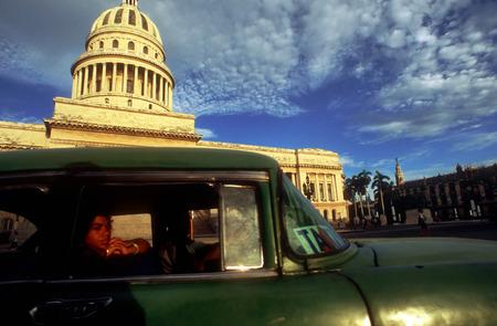 capitolio: Old car 1950s  passing the Capitolio Nacional, Havana, Cuba