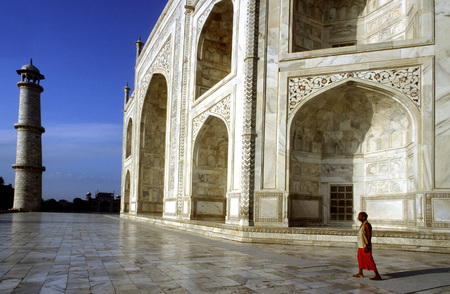 mumtaz: Agra, Uttar Pradesh. Taj Mahal in River Yamuna, Agra, India The Taj Mahal is a mausoleum located in Agra, India, built by Mughal Emperor Shah Jahan in memory of his favourite wife, Mumtaz Mahal. The Taj Mahal is considered the finest example of Mughal arc