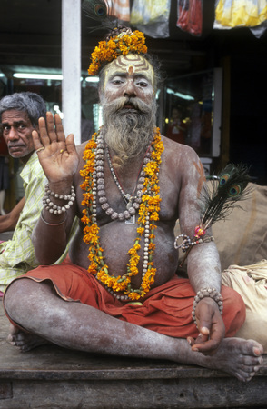renounce: Portrait Of A Sadhu, Varanasi, Uttar Pradesh, India. Varanasi, Uttar Pradesh, India. Varanasi sadhu. In addition to hosting religious festivals, Varanasi is home to a large concentration of sadhus. Sadhus are Hindu monks who renounce most sensual pleasure Editorial