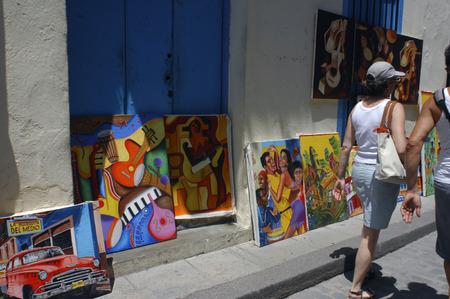 vieja: Paintings for sale in street market Havana Vieja