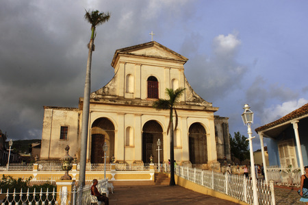 bathed: The church of the Holy Trinity bathed in evening light, Plaza Mayor, Trinidad, UNESCO World Heritage Site, Cuba, West Indies