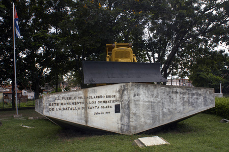 derail: Yellow Caterpillar bulldozer used by Che Guevara to derail an armoured train at battle of Santa Clara in the Cuban revolution.