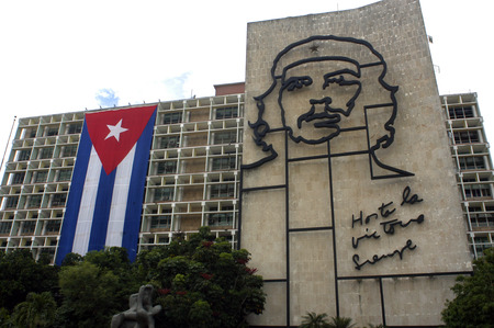 propaganda: Ernesto Che Guevara as an art installation and propaganda work of art on a wall at the Revolution Square