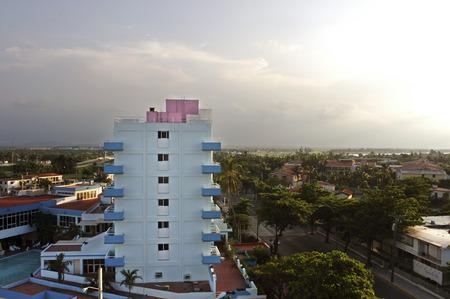 Local Varadero village. Buildings and landscape, Cuba. Editorial
