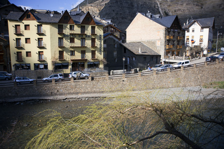 spanish looking: View of Llavorsi village located along river Noguera Pallaresa in province of Lleida Catalonia Spain