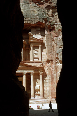 mideast: Camel in The Treasury (El Khazneh), Petra, Jordan Stock Photo