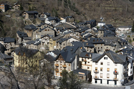 sight seeing: View of Llavorsi village located along river Noguera Pallaresa in province of Lleida Catalonia Spain