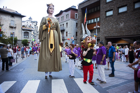 asterix: Traditional celebration of Giants and big headeds, Andorra la Vella, Andorra.