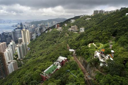 Hong Kong skyline. Panoramic view of Hong Kong and Kowloon from Victoria Peak Tower. Hong Kong, China, SAR Editorial