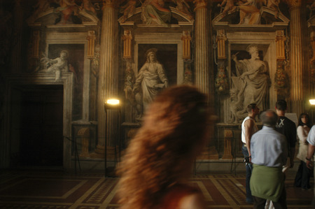mondial: Gallery in the Vatican Museum in Vatican City a city-state that is surrounded by Rome Italy
