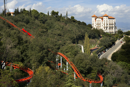 Roller coaster in The Tibidabo theme park, Barcelona, Spain.