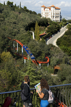 tibidabo: Roller coaster in The Tibidabo theme park, Barcelona, Spain.