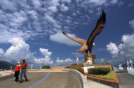 Eagle Square, Dataran Lang is one of Langkawi's best known attractions. Kuah, Langkawi Island, Kedah, Malaysia.